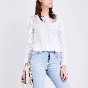 Maje Malice Heart Pointelle Ruffle Sweater White M
